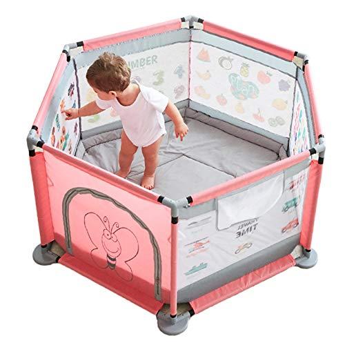 OSHA HJWMM Parque Infantil Bebe, Valla de Juegos for Niños Interior Centro de Actividades for Niños, Impreso con Patrones Regalo de Cumpleaños (Color : Pink, Size : 124x65cm)