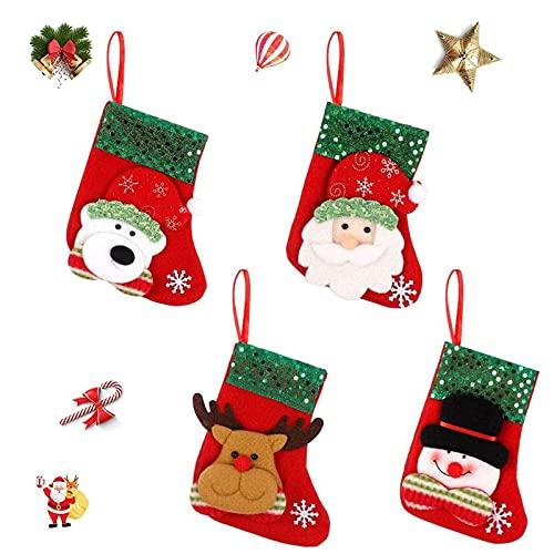 UNJYHB Relleno Calcetín Navideño Colgantes Calcetín De Santa Claus Botas Navidad Decoración Chimenea Llenado De Calcetines Navideños para Decoraciones De Navidad, Suministros De Fiesta, 4 Piezas