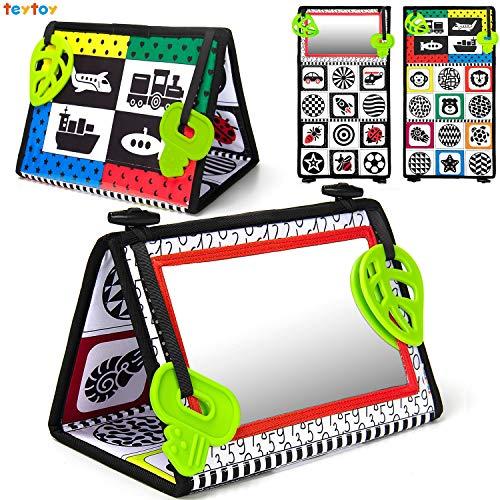 teytoy Baby Spiegel, Faltbarer Spiegel Kinderspiegel Spielzeug mit Schwarz-Weißem Kontrastmuster, Baby Spielzeug mit Spiegel für die Bauchlage, Baby Spielzeug ab 0 3 6 Monate
