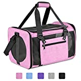 Moyeno Cat Carriers Dog Carrier Pet Carrier for Small Medium Cats Dogs Puppies up to 15 Lbs, TSA Airline Approved Small Dog Carrier Soft Sided, Collapsible Waterproof Travel Puppy Carrier - Pink