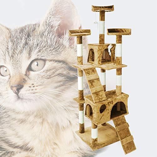 Wiltec Kratzbaum beige 170cm mit Aussichtsplattformen, Katzenhäusern und Leitern