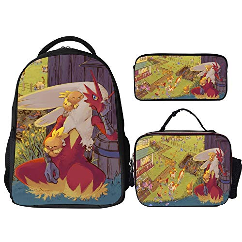 Poke-mon Backpacks 3Pcs Set,Blaziken Torchic Ponyta,16' Backpack with Lunch Bag and Pencil Case Kids 3 in 1 Bookbags Set Cute School Bag for Teen Girls Boys Water Resistant