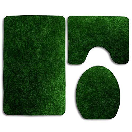 Emerald Green Grass Velvet │ Texture Beautiful Toilet Lid Cover Wood Soft Comfort Washroom Mats,Non-Slip Absorbent Toilet Seat Cover Bath Mat Lid Cover,127pcs/Set Rugs