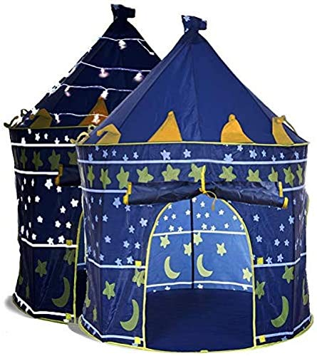 ZINE Play Tents for Boys,Kids Play Tent with Star Lights & Carrying Case Pop Up,Portable Glow in The Dark Stars Blue Children Castle Playhouse for Girls Boys Indoor Outdoor Use