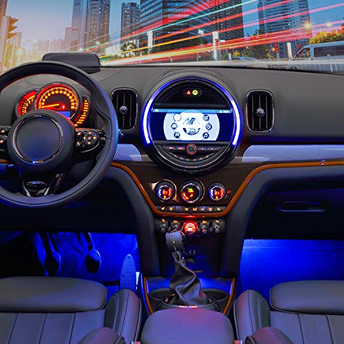 Nilight 4PCS 48 LEDs USB Interior Lights DC 5V Multicolor Music Car Strip Light Under Dash Lighting Kit with Sound Active Function and Wireless Remote Control (TR-12)