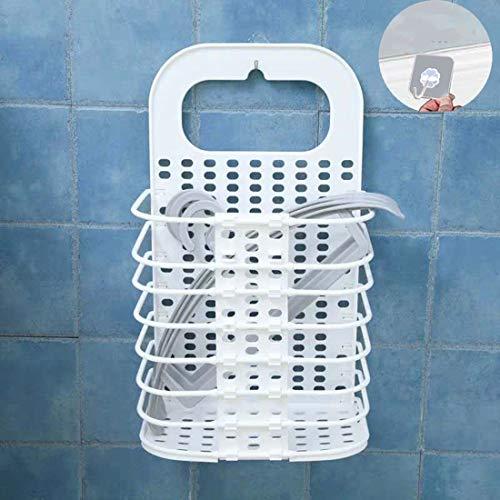 JIUJ Cesta de lavandería para colgar en la pared, plegable, para ropa sucia, sin ponche, para colgar en la pared, juguete o baño, color blanco