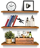 Set of 3 Wood Floating Shelves Wall Mounted Rustic Wooden Shelf Picture Ledge Storage Rack Organizer Display Wall Shelves Bookshelf Home Décor for Bedroom Living Room Bathroom Kitchen Office (Flame)