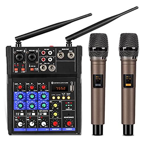 Tablero mezclador de sonido, consola mezcladora de audio de 4 canales con micrófono inalámbrico mezcla de sonido con mini mezclador dj USB Bluetooth para transmisión en vivo, grabación y juegos