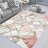 Alfombra Decoracion Dormitorio Juvenil Alfombra de Modelo de mármol Gris Rosa Fácil de Limpiar, Antideslizante alfombras Pasillo alfombras de baño 60*90cm