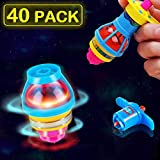 AULY Glow in The Dark Birthday Party Favors for Kids 40-Pack LED Light Up Spinning Top Toys,Flashing Spinner Tops with Gyroscope