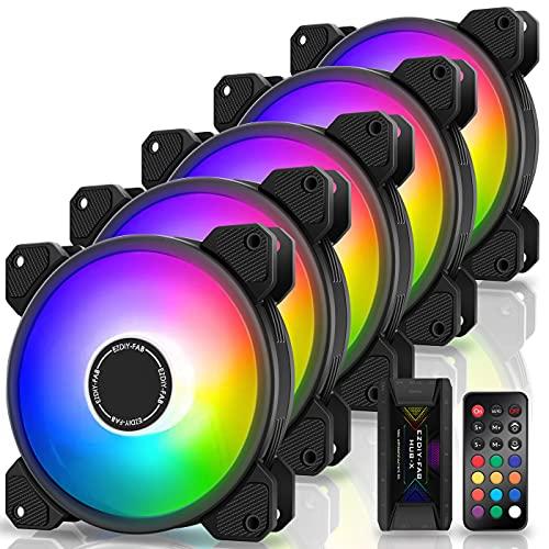 EZDIY-FAB 120mm Computer Case Fan,Motherboard Aura Sync Fan,High Airflow,Speed Adjustable,Addressable RGB Fan with Fan Hub and Remote-5 Pack