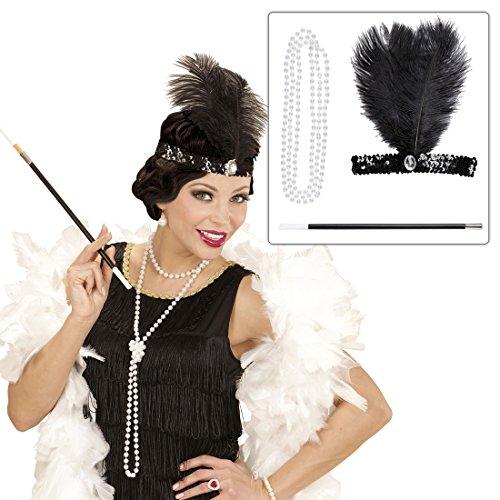 NET TOYS Charleston Kostüm Set mit Kopfschmuck, Halskette und Zigarettenspitze 20er 30er Jahre Bekleidung Gatsby Mode Outfit Damen Flapper Haarschmuck Federschmuck Haarband