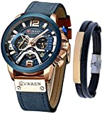 CURREN Watches Men Quartz Leather Chronograph Watch and Fashion Bracelet Set Blue Watches for Men Luxury Wristwatch Gifts (Blue)