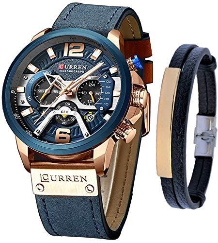 CURREN Watches Men Quartz Leather Chronograph Watch and Fashion Bracelet Set Blue Watches for Men Luxury Wristwatch Gifts (Blue)
