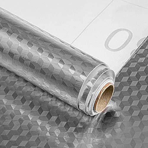 Suwimut 157 x 472 Inches Self Adhesive Shelf Liner Drawer Liner 6 Rolls Aluminum Foil Backsplash Waterproof Paper Peel and Stick for Cabinets Desks Home Kitchen Bathroom