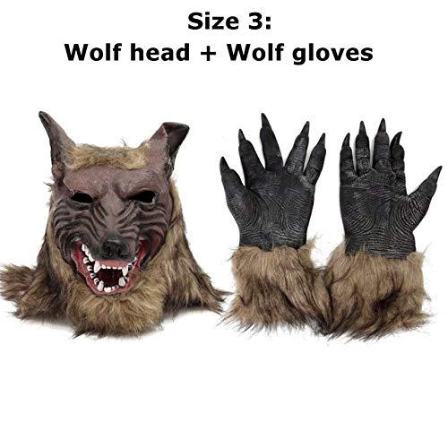 QLQGY Cosplay Latex Wolf hoofd haarmasker handschoenen, unisex nieuw dier volledig masker Halloween rollenspel kostuumparty kostuum