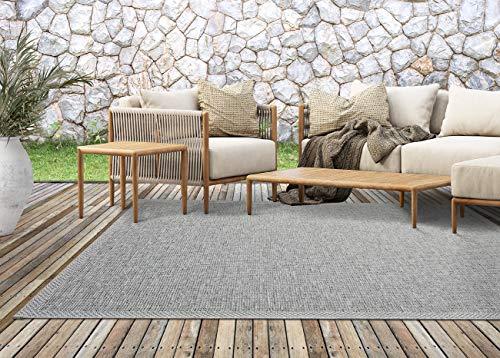 the carpet Calgary In- & Outdoor Teppich Flachgewebe, Modernes Design, Trendige Farben, Superflach, UV- und Witterungsbeständig, Grau, 200 x 280 cm