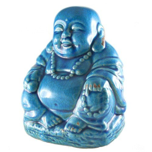 World Buyers Happy Buddha Ceramic with Crackle Finish 7.5' H (Blue)