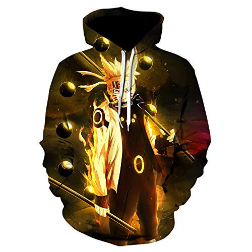 YUESUO 3D Anime Hoodie Cool Cosplay Costume Print Pullover Hooded Sweatshirt for Men (6,L) Gold