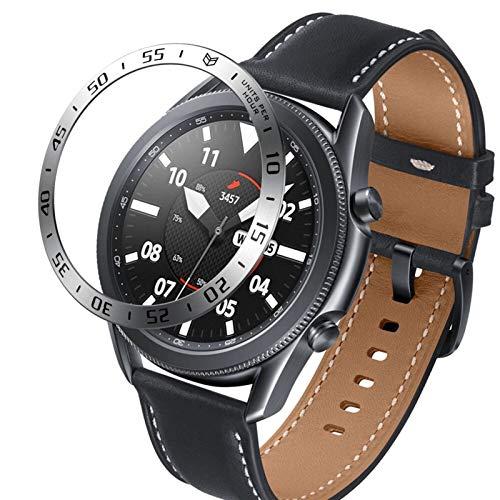 YGGFA Para Samsung Galaxy Watch 3 41 mm 45 mm Frontier, anillo de protección, adhesivo antiarañazos, accesorio de reloj inteligente (color de la correa: plata, ancho de la correa: 41 mm)