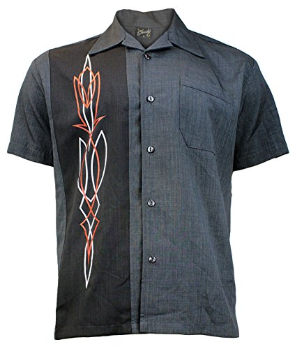 Steady Clothing Hombre Vintage Bowling Camisa–Hot Rod Pinstripe Gris Retro Bolos Camiseta