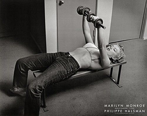 Marilyn Monroe, Hollywood 1952 Art Poster Print by Philippe Halsman Working Out With Weights, 22x28