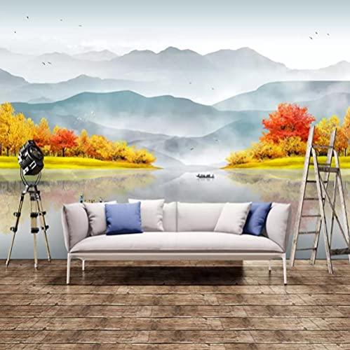 Papel Pintado Murales 3D Pintura De Tinta China Concepción Artística Fondo De Tv Pintura De Pared Clásico Zen Dormitorio Sala De Estar Sofá Wallpaper-200 * 140Cm