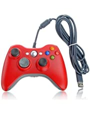 Xbox 360 Game Controller USB Wired Gamepad Game Joystick Joypad for Microsoft & Windows PC (Red)