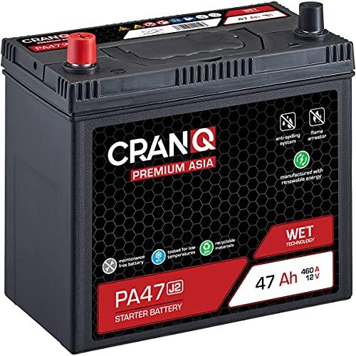 CranQ 12V 47Ah Asia Auto-Batterie Starter wartungsfreier Blei-Säure-Akku Premium-Serie PA47 J2 (Pluspol links)