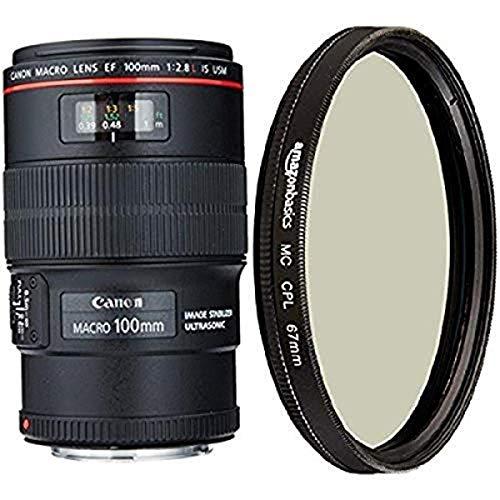 Canon EF 100mm f/2.8L IS USM Macro Lens for Canon Digital SLR Cameras and Amazon Basics Circular Polarizer Lens - 67 mm