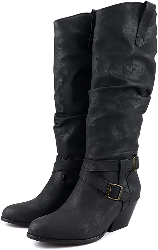 SO SIMPOK Women Buckle Strap Chunky Western Cowboy Cowgirl Boots Pull On Riding Boots Block Heel Mid Calf Boots