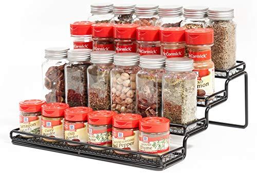 MEIQIHOME 4 Tier Spice Rack Organizer Step Shelf Countertop Spice Storage Holder for Kitchen Cabinet Cupboard Pantry Metal Black