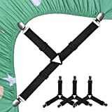 Bed Sheet Holder Straps, SEEOOR Triangle Elastic Mattress Corner Clips, 3 Way Fitted Bed Sheet Fastener Suspenders Grippers Heavy Duty for Bedding Sheets, Mattress Covers, Sofa Cushion (4 Pcs)