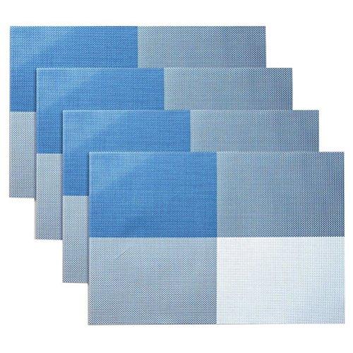 Jeu de tapis table de 4, isolation de Set de table PVC anti-dérapant isolation lavable revêtement protecteur pour Table tapis pour Table de cuisine(Bleu)