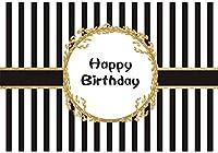 HD 7x5ft誕生日ビニール背景ハッピーバースデーフレームゴールドバナーブラックストライプ写真の背景の誕生日パーティーの装飾ポートレート写真撮影スタジオ写真ブース小道具