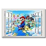 feitao Mario 3D Fenster Aufkleber Kinder Schlafzimmer Party Insel Tour Poster Super Mario Bros WallpaperDecals 60x90cm