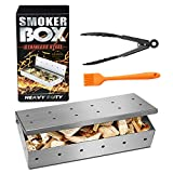 CUSMOR Premium Grill Smoker Box for Wood Chips, Heavy Duty BBQ Stovetop Smoker Box, Thick Stainless Steel Grilling Accessories Won't Warp on Gas Grill or Charcoal Grill, Free Basting Brush & Food Tong