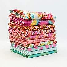 Southern Fabric Tula Pink - Orange and Aqua Half Yard Bundle (10 pcs) - Mixed Designers 18 x 43 inches (45.72cm x 109.22cm) DIY quilt fabric