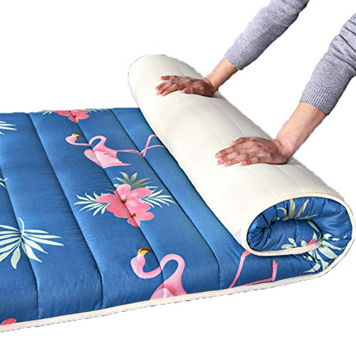 Japanese Futon Mattress, Tatami Folding Floor Mattress Student Dormitory Single Adult Mattresses Thick Pad Sleeping Mat for Bedroom Living Room 90X200cm,flamingo