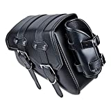 Astra Depot Black Leatherette Rear Left Motorcycle Saddle Bag Side Tool Bags Compatible with Harley Sportster 2004-UP