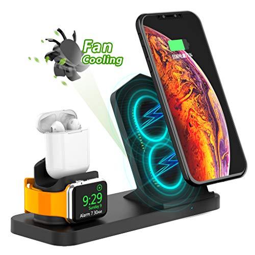 Adurei 3 en 1 Stand Enfriamiento Estación 10W Inalámbrico Carga Rápida Pad Compatible con iPhone XS Max/XS/8/8Plus (QI habilitado Teléfono) iWatch Sereis 4/3/2/1(Debajo de OS6.0) and Airpods(Negro)