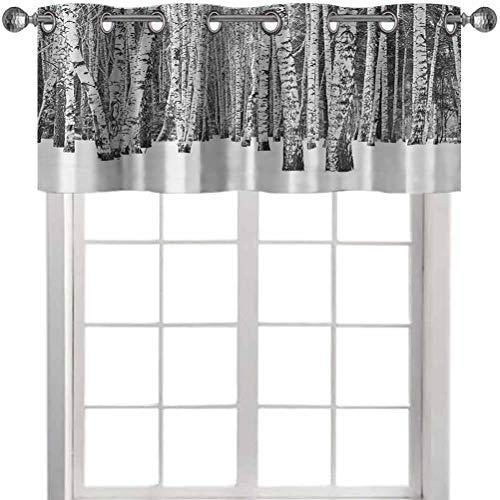 Aishare Store Cenefa de cortina aislante, bosque de abedul en nieve invierno paisaje paisaje, 132 cm de ancho x 45 cm de largo, cortinas opacas para sala de estar/dormitorio (1 panel)