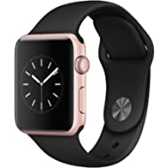 Apple Watch Series 1 Smartwatch 42mm, Rose Gold Aluminum Case/Black Sport Band (Newest Model)...