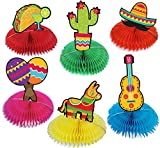 6pcs Fiesta Taco Bar Party Decorations 6 inches Colorful Honeycomb Paper Fan Centerpiece Table Decoration for Mexican Theme Baby Shower Graduation Birthday Anniversary Celebration…