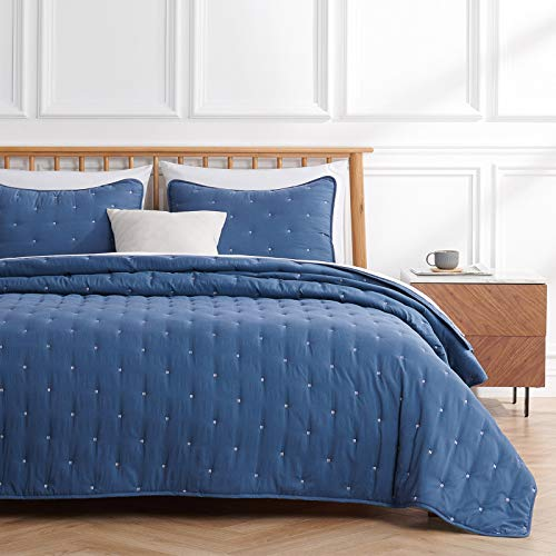 VEEYOO King Size Quilt Sets Bedspread - Navy Quilt California King (98x108 inches) Unique Stitches Pattern Quilting Bedspread, 3-Piece Lightweight Coverlet for All Season, 1 Quilt 2 Shams