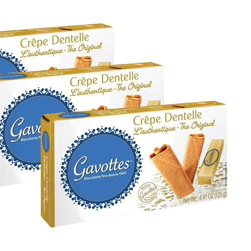 (Pack of 3) Gavottes Crispy Rolled, Fan wafers, OR Crepes Dentelle, OR Mini Crepe Dentelle, Luxury authentic lace crepes snacks from France- Great Value Pack of 3 (Crispy Crepes)