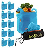 BagPodz Reusable Shopping Bags – Includes 10 Foldable Bags Inside a Compact Pod with Carry Clip – Super Strong Nylon Reusable Shopping Bags Hold up to 50lbs – Sturdy, Washable and Easy to Use