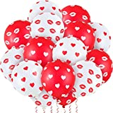 48 Pieces Valentines Day Balloons Heart Printed Latex Balloons Lips Printed Balloons Red and White Kiss Lip Balloons Valentines Day Decorations for Birthday Party Supplies