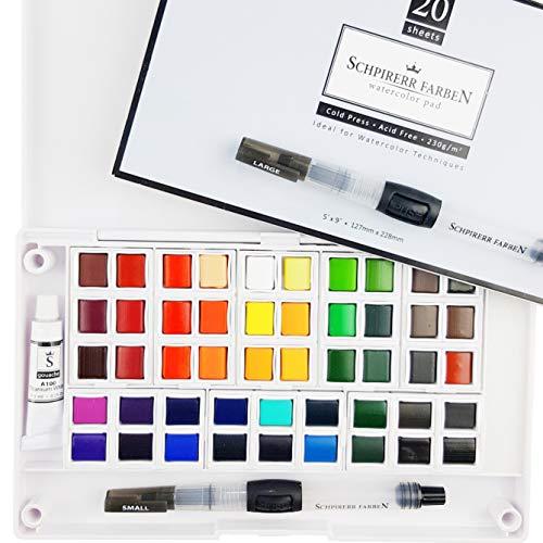 SCHPIRERR FARBEN Art Supplies Watercolor Paint Set - Travel Watercolor Kit: 48 Watercolor Paint, 20 Sheets 230gsm Watercolor Paper, 2 Watercolor Paint Brushes, 1 Mixing Watercolor Paint Palette