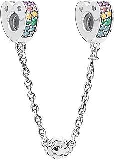 Romántico Amor Sparkking Arcs of Love Charm Safety Chain Clear CZ for Pandora Bracelets